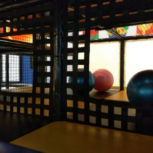 exercise balls, netted walls, playroom gathering area