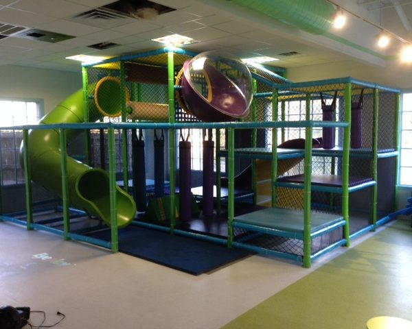 Go Play Systems Custom Design: lime green, purple, sky blue themed playground at FEC