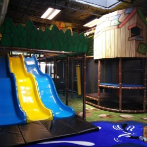 Go Play Systems Custom Design: tree house theming, fiberglass wave slide, river, fish, forrest animals in carpet