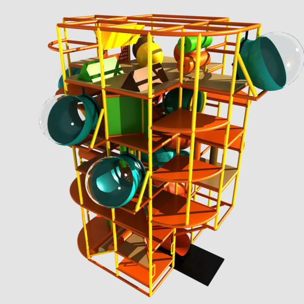 Go Play Systems Custom Design: 23ft indoor playground with terrific vertical climbing and crazy slides