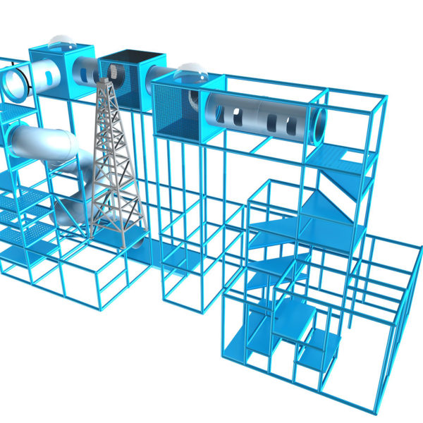 Go Play Systems Custom Design: five story vertical climbs, crawl tubes, junction boxes