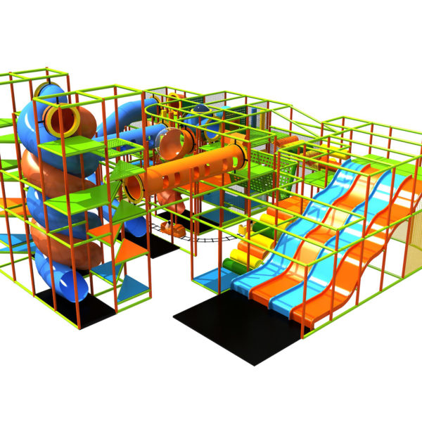 Go Play Systems Custom Design: four lane fiberglass wave slide, five story double helix slide, kiddie ride, and crazy slides