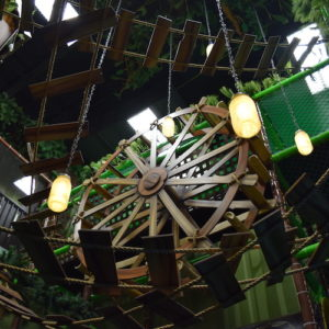 Go Play Systems Custom Design: 3d water wheel, suspended bridge, fire fly lamps
