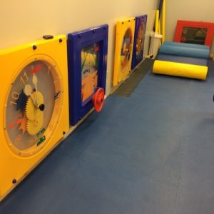 Tell time, driving, mirrors, and ball turn activity panels