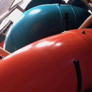teal and orange double helix slide