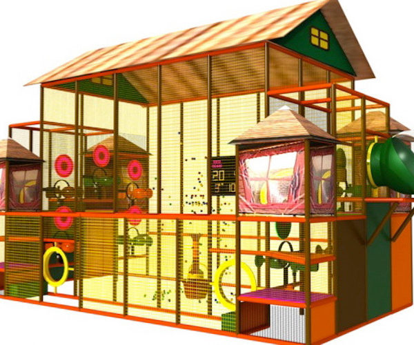 Indoor Playground Components and Attractions: themed foam ball shooter gallery with scoreboard and targets