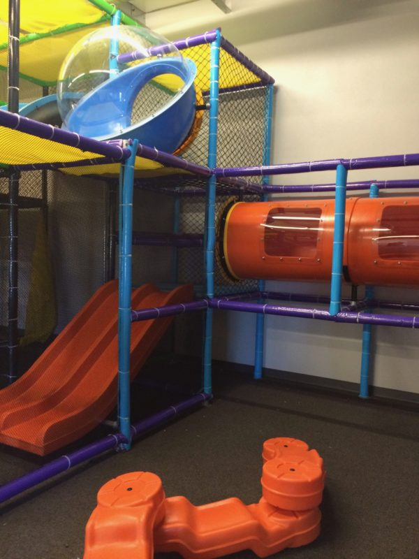 four foot triple rail slide, crawl tube with windows and balance beam