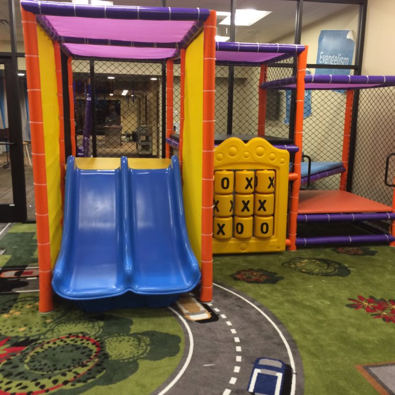 Indoor Playground Components and Attractions: triple rail slide, activity panels and climb